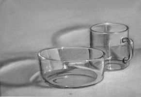Glass cup and bowl by saret