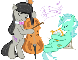 Musicly Inclined Ponies by Elslowmo