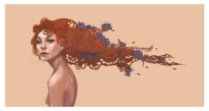 Red lace and Blue flowers by Stolidly