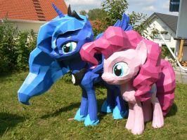 Luna and Pinkie papercrafts in the garden by Znegil