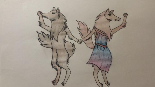 wolves dancing the salsa  by PinkPorro