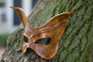 Brown Cat Leather Mask by OsborneArts