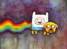Nyan Time - Adventure Time vs Nyan Cat by Olechka01
