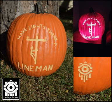 LINEMAN foam pumpkin carving commission. by drchipohpoh