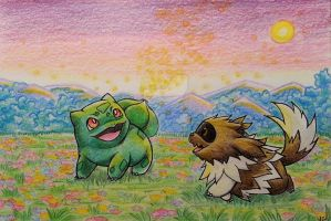 Bulbasaur with Zigzagoon on a blooming grassland by Pikabulbachu