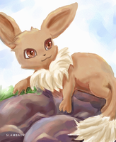 eevee on the rocks by Kiwikku