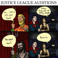 Justice League tryouts by Datjiveturkey