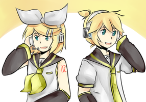 Happy Birthday Kagamine Twins! by missing-fortunediver