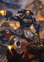 Space Marine vs Ork rs by BorisDigitalArtist