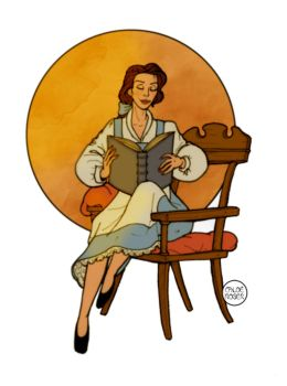 Belle reading by LaTaupinette