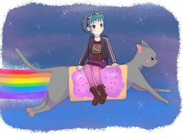 Ramona Flowers and Nyan Cat by Antyalan1