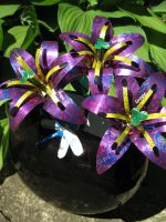 Recycled Pop Can Lilies-purple by Christine-Eige