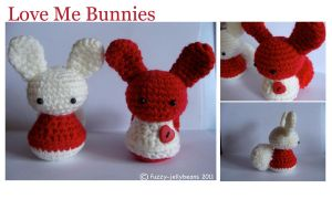 Love Me Bunnies Amigurumi by fuzzy-jellybeans
