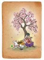 Okami with Waka by galazy