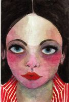 Small watercolor face by pink-porcupine