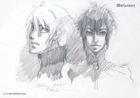 sketches of Cain and Abel by Meissner-kun