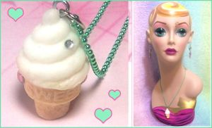 Ice Cream Cone Necklace by bapity88