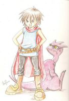 Child and dragon colour pencil by anapeig