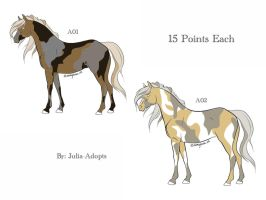 Tri-Color Horse Adoptables by Julia-adopts
