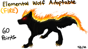 Elemental Wolf Adoptable - Fire (OPEN) by ImHerMonster