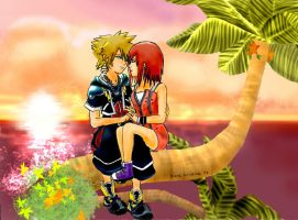 Sora and Kairi at Destiny Islands - Kingdom Hearts by DianaKristina
