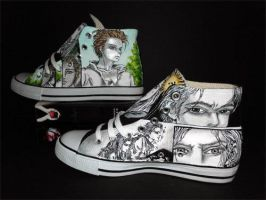 Handpainted Custom Twilight Shoes Graphic Novel by rachelliles352
