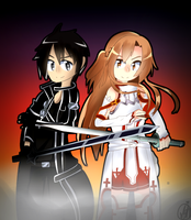 C: Kirito and Asuna (squirtleaye) by P-Cookiie