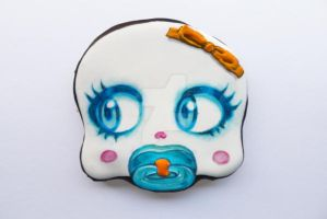 halloween chocolate cookie skull baby girl by ALI-MALBICHO