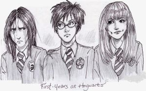 Severus Snape, James Potter, Lily Evans by Atanapotnia