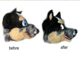 Fursuit face lift side view by LilleahWest