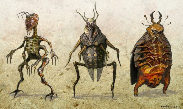 two leged bug characters by 5ofnovember