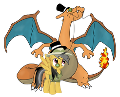 Charizard and Daring Doo Go British Day 9 by DrLonePony