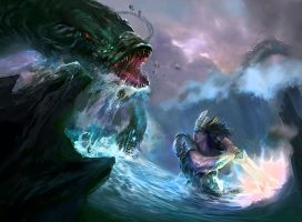King Dragon vs Fish Monster by bloodyman88