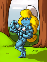 Super Muscle Smurfette by Ritualist