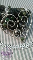 Green Wire Wrapped Heart by WireMoonJewelry