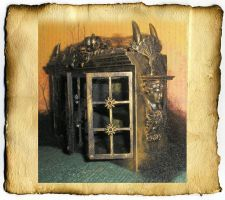 Miniature Gothic Bookcase by grimdeva