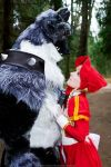 Red Riding Bonnet and Atroce-wolf ^^ by Aquamirral
