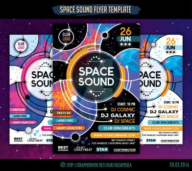 Space Sound Flyer Template by olgameola