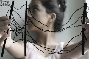 Papercut Art #0036 - barbed wire by ParthKothekar