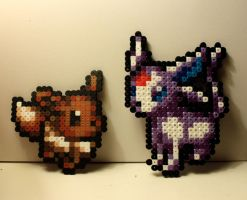 Eevee and Espeon Bead Sprites by SK-Studios