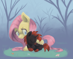 RQ: Thunder Spark and Fluttershy by Paintrolleire