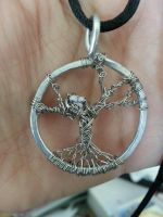 Silver Winter Tree of Life pendant w/birds nest by TheWingedBoggart