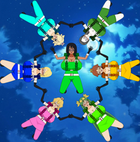 Elizuke and the Nintendo girls in skydiving form by Elizuke94