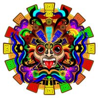 Aztec Warrior Psychedelic Mask by Bluedarkat