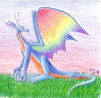 Rainbow-winged Dragon by purplelemon