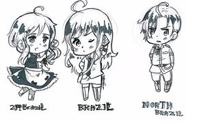 APH Brazil, 2P!Brazil and North Brazil [Comission] by White-Bears