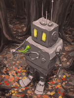 Little robot with a caterpie by ThroughSpaceAndTime
