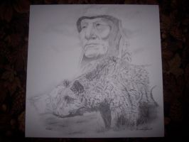 Indian and bear by Vsemb