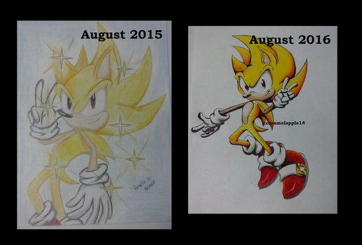 Super Sonic drawing comparison by mooninescent