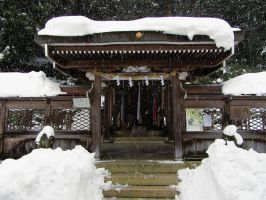 Tanaka Jinja Main-Shrine in the Snow by OnlyTheGhosts